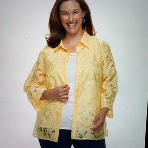 Alfred Dunner Women's Embellished Yellow Blouse